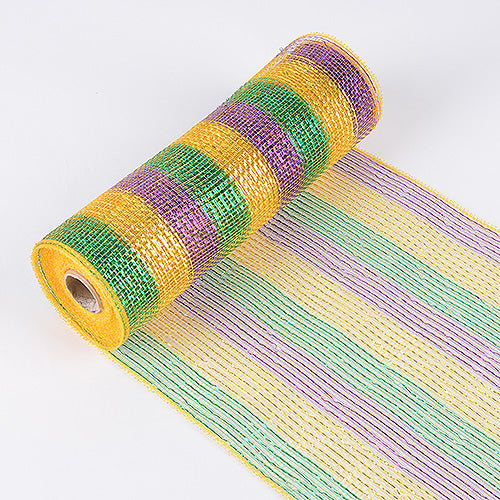 Mardi Gras  - Poly Deco Mesh Wrap with Laser Mono Stripe -  ( 21 Inch x 10 Yards )