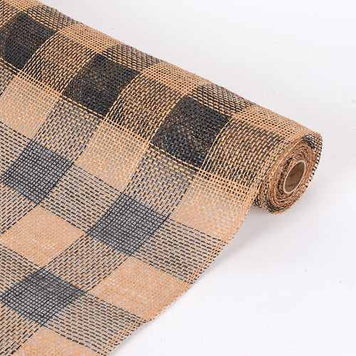 21 inch x 5 Yards Black Faux Burlap Plaid Mesh