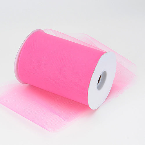 6 inch Shocking Pink Premium Polyester Tulle 100 Yards