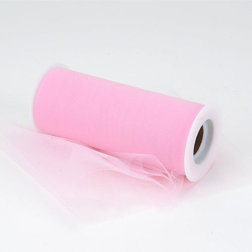 6 inch Pink Premium Polyester Tulle Fabric