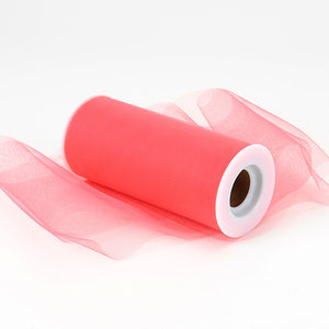 6 inch Coral Premium Polyester Tulle Fabric