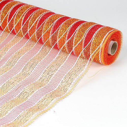 21 Inch x 10 Yards Red with Gold Poly Deco Mesh Wrap with Laser Mono Stripe