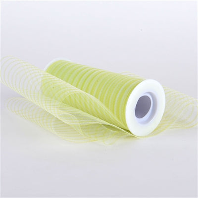 Apple Green Multi Striped Tulle - ( W: 6 inch | L: 10 Yards )