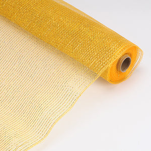 21 Inch x 10 Yards Old Gold Laser Metallic Floral Deco Mesh Wrap