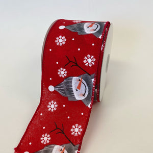Red Linen Cutest Snowman Ribbon  - (2.5 inch x 10 yards) - 710594051