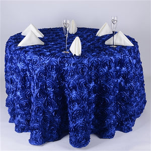 "120 Inch Royal Blue 120"" Rosette Satin Tablecloths"