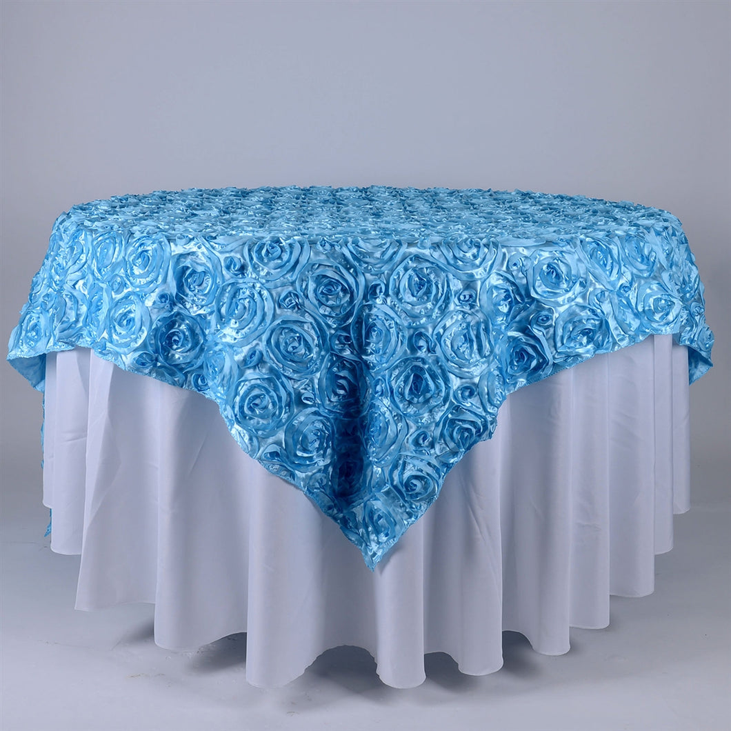 Light Blue - 72 x 72 Inch Rosette Square Table Overlays