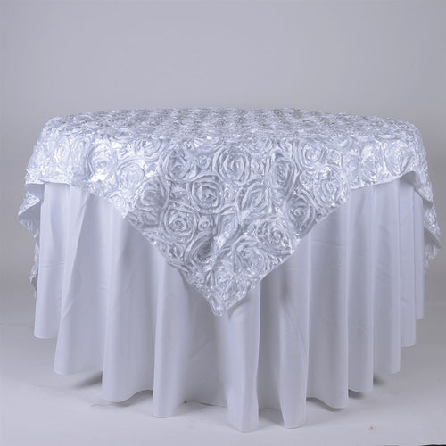 White - 72 x 72 Inch Rosette Square Table Overlays