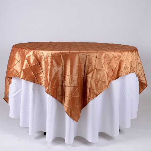 Gold - 72 x 72 Inch Pintuck Satin Square Table Overlays