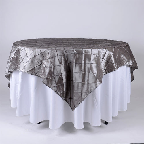 Silver - 72 x 72 Inch Pintuck Satin Square Table Overlays