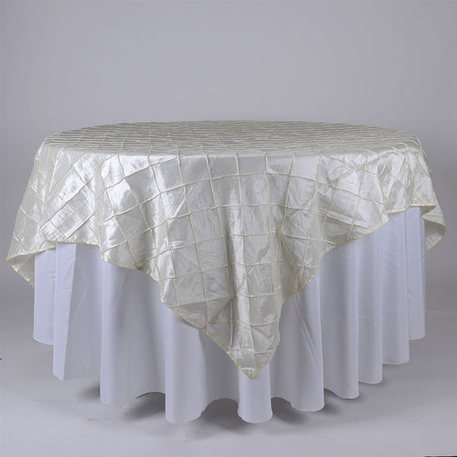 Ivory - 72 x 72 Inch Pintuck Satin Square Table Overlays