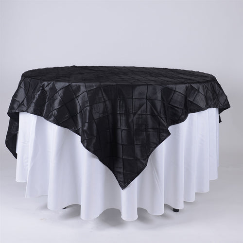 Black - 72 x 72 Inch Pintuck Satin Square Table Overlays