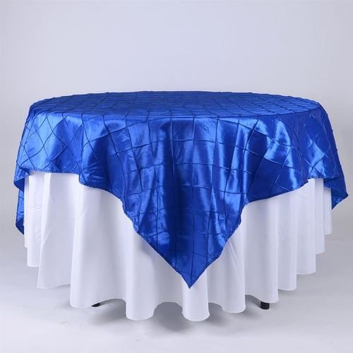 Royal - 72 x 72 Inch Pintuck Satin Square Table Overlays
