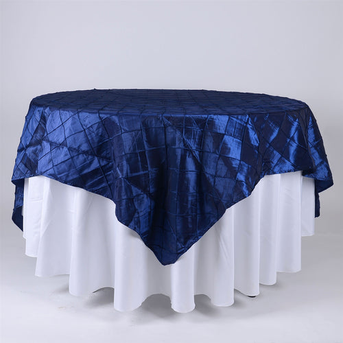 Navy - 72 x 72 Inch Pintuck Satin Square Table Overlays