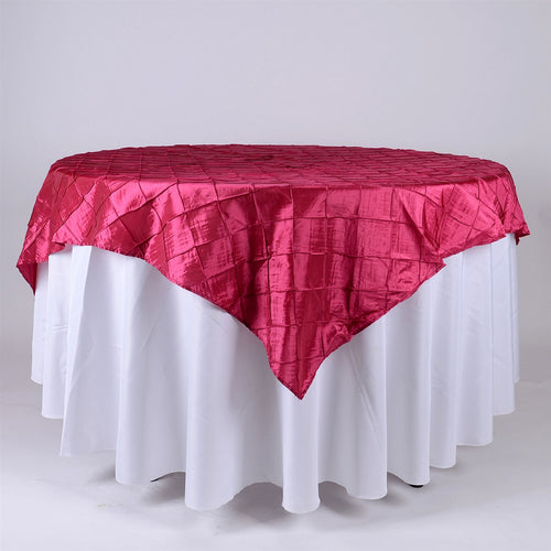Fuchsia - 72 x 72 Inch Pintuck Satin Square Table Overlays