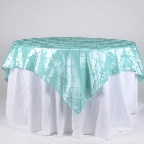 Aqua Blue - 72 x 72 Inch Pintuck Satin Square Table Overlays