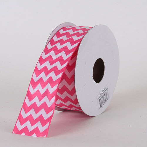 2-1/4 inch Hot Pink Grosgrain Chevron Ribbon