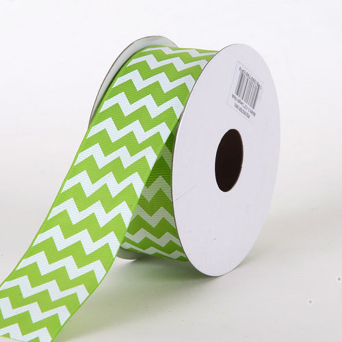 2-1/4 inch Apple Green Grosgrain Chevron Ribbon