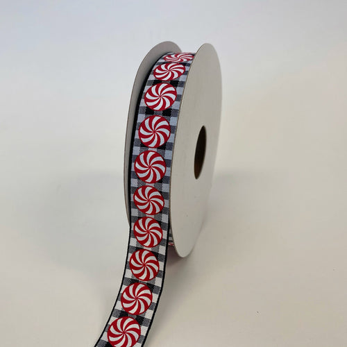 Black White Gingham Peppermints Ribbon - (5/8''x10yds) - 770220313