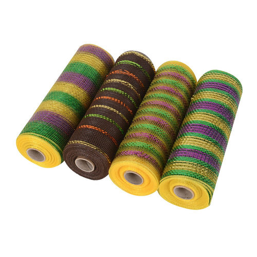 Mardi Gras Mesh Set - Pack of 4 ( 10 Inch x 10 Yards ) - XB9171045*NXB9181038*XB9171022M*XB91710