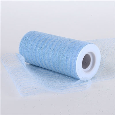 Light Blue 6 Inch Glitter Multi Striped Tulle