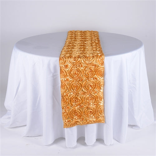Gold - 14 x 108 Inch Rosette Satin Table Runners - FuzzyFabric