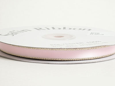 3/8 inch Light Pink with Gold Edge Satin Ribbon Lurex Edge