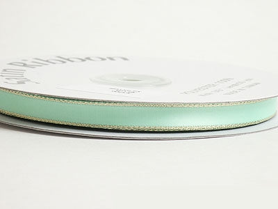 1/8 inch Mint with Gold Edge Satin Ribbon Lurex Edge