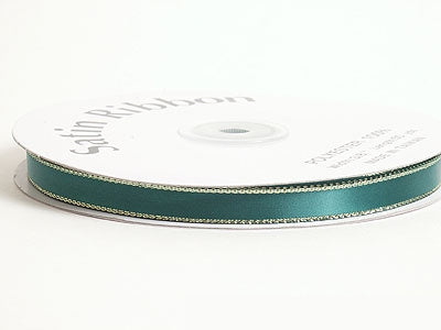1/8 inch Hunter Green with Gold Edge Satin Ribbon Lurex Edge