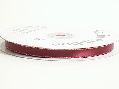 3/8 inch Burgundy with Gold Line Satin Ribbon Lurex Edge