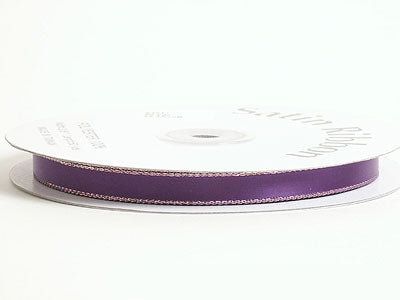 1/8 inch Purple with Gold Edge Satin Ribbon Lurex Edge