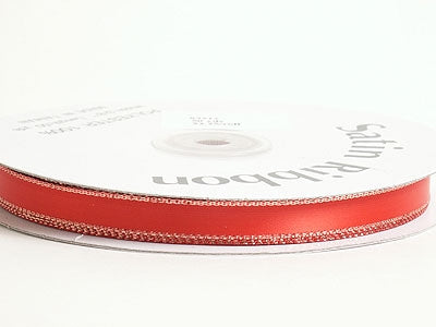 3/8 inch Red With Gold Edge Satin Ribbon Lurex Edge