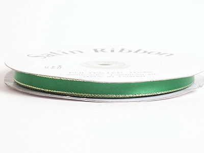 1/8 inch Emerald with Gold Edge Satin Ribbon Lurex Edge