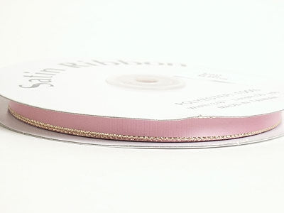 1/8 inch Mauve with Gold Edge Satin Ribbon Lurex Edge