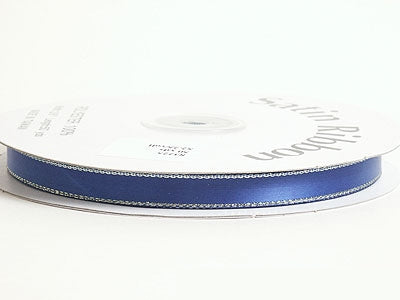 3/8 inch Royal Blue with Gold Edge Satin Ribbon Lurex Edge