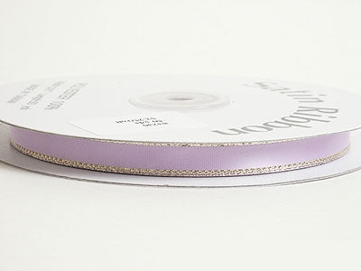 3/8 inch Lavender with Gold Edge Satin Ribbon Lurex Edge