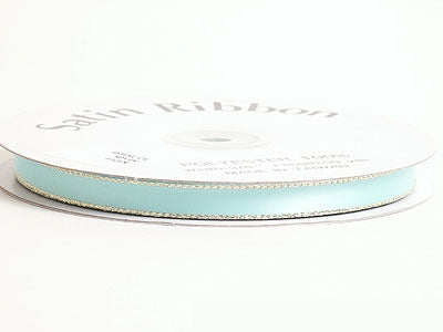 1/8 inch Aqua Blue with Gold Edge Satin Ribbon Lurex Edge