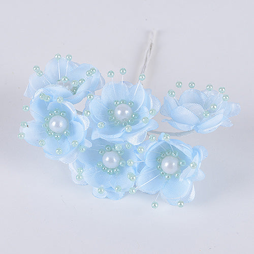12 Mini Flowers Blue Organza Flowers with Pearl Beads (6x12)