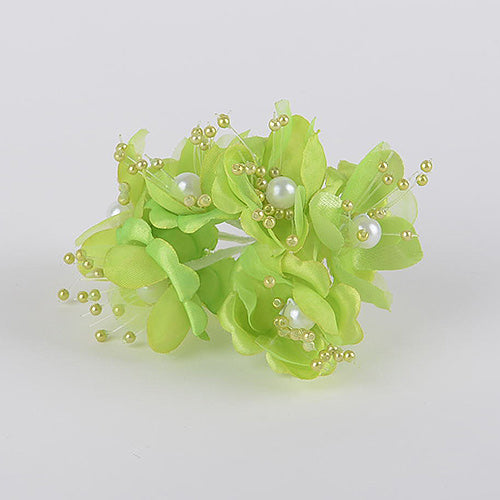 12 Mini Flowers Apple Green Organza Flowers with Pearl Beads (6x12)