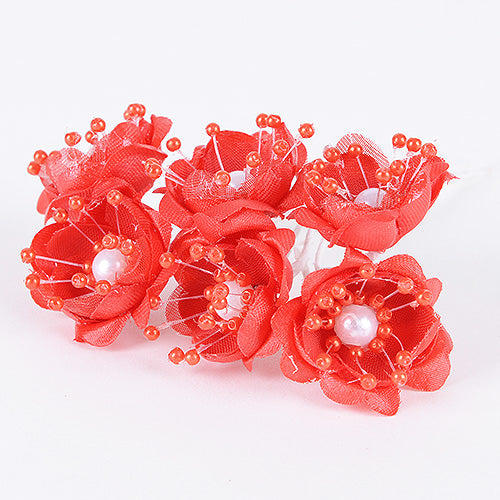 12 Mini Flowers Red Organza Flowers with Pearl Beads (6x12)