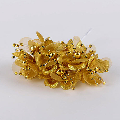 12 Mini Flowers Gold Organza Flowers with Pearl Beads (6x12)