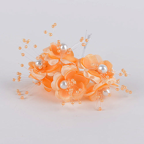 12 Mini Flowers Orange Organza Flowers with Pearl Beads (6x12)