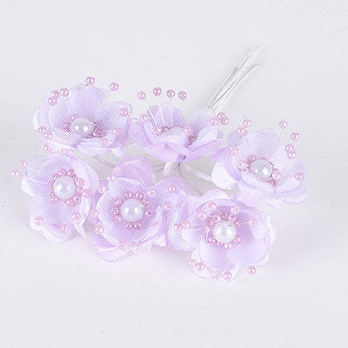 12 Mini Flowers Lavender Organza Flowers with Pearl Beads (6x12)