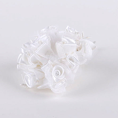 12 Mini Flowers White Organza and Satin Flowers (10x12)