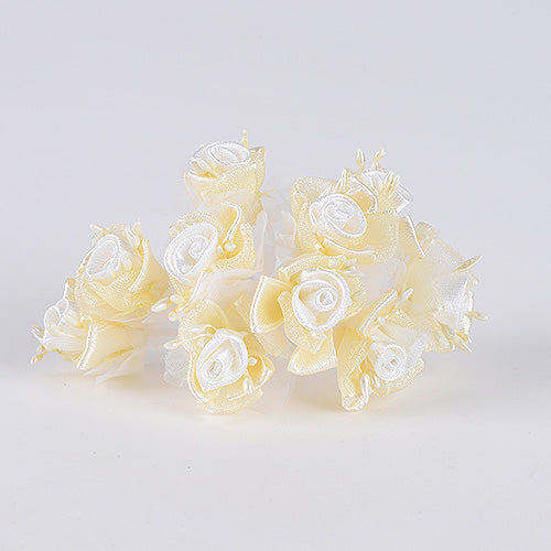 12 Mini Flowers Ivory Organza and Satin Flowers (10x12)