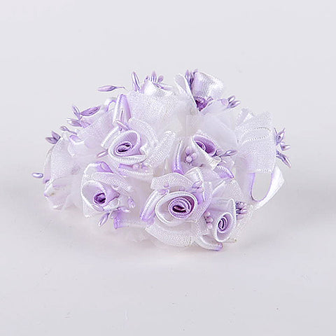 12 Mini Flowers Lavender Organza and Satin Flowers (10x12)