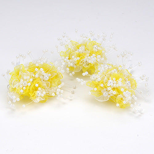 12 Mini Roses Yellow Organza Flower With Pearl Beads (9x12)