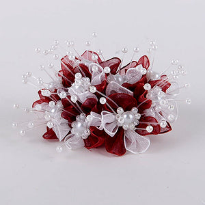 12 Mini Roses Burgundy Organza Flower With Pearl Beads (9x12)