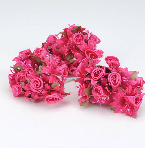 12 Mini Roses Bush Fuchsia Satin Mini Rose Bush