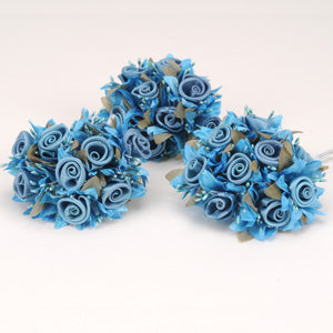 12 Mini Roses Bush Turquoise Satin Mini Rose Bush